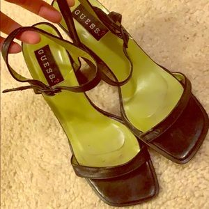 Guess Square Toe Leather Heels